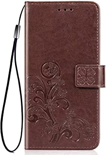 Protect Your Phone, Four-Leaf Clasp Embossed Buckle Mobile Phone Protection Leather Case with Lanyard & Card Slot & Wallet & Bracket Function for iPhone XI Max (2019) for Cellphone. (Colour : Brown)