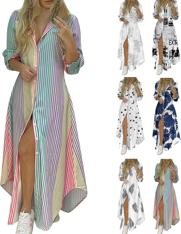 Womens Dresses Summer V-Neck Button Down Shirts Long Sleeve Sexy Split Maxi Dress Casual Loose Flowy A Line Swing Dress
