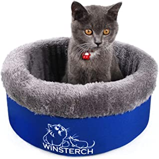 Winsterch Washable Warming Cat Bed Kitten Bed,Soft Luxury Plush Pet Bed for Cats or Small Dog(Blue)