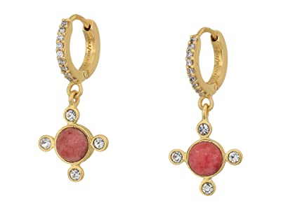 SOLE / SOCIETY Four Pointed Huggie Earrings (12K Soft Polish Gold/Crystal/Pink Aventurine) Earring