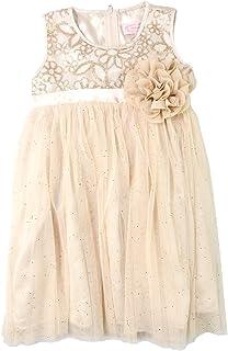 POPATU Girlsサイズ5?/ 6ノースリーブドレス、ゴールド/スパンコール
