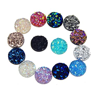 Multi-Colors 10mm Flat Back Resin Cabochons Druzy Iridescent Mermaid Scale Cabochons Flat Round Sparkly Glitter for Setting Bezel Tray Pendant Charms 50pairs Alysee 100pcs