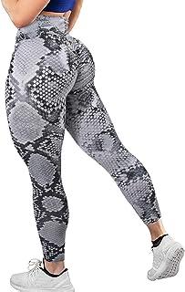 YOFIT Womens Ruched Butt Lifting Leggings High Waisted Tummy Control Animal Print Yoga Pants, Snake, Small