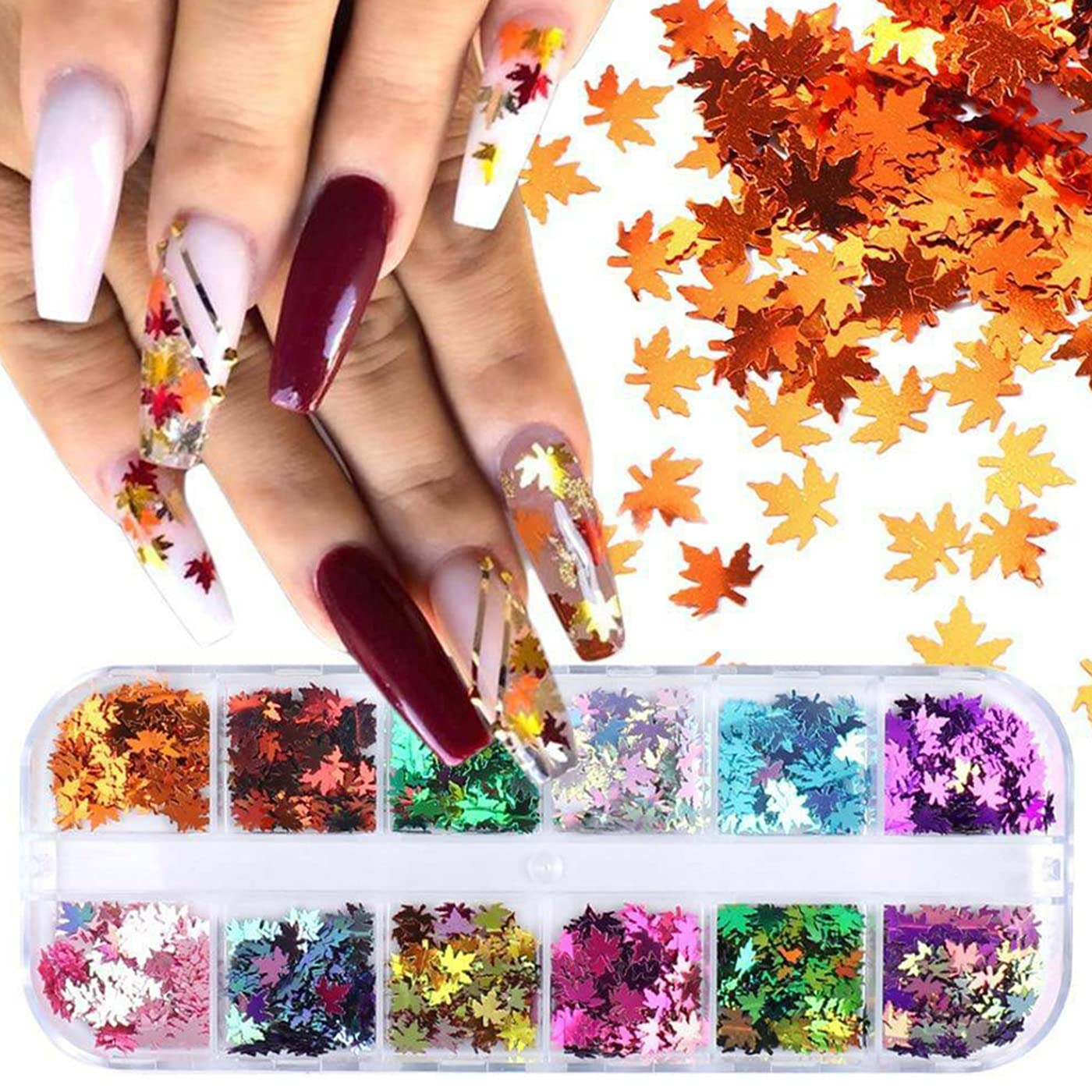 Holographic New color Maple Leaf Nail Art Glitter Colo 67% OFF of fixed price 12 Sequins Grids 3D