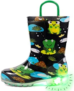 Sponsored Ad - Outee Toddler Kids Adorable Lightwight Waterproof Rain Boots Light Up by Steps