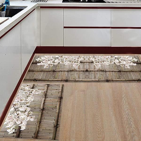Prime Leader 2 Piece Non Slip Kitchen Mat Runner Rug Set Doormat Bamboo Door And Cherry Blossom Door Mats Rubber Backing Carpet Indoor Floor Mat 19 7 X 31 5 19 7 X 47 2