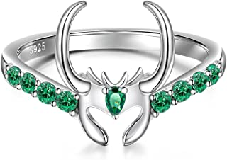 Loki Ring Sterling Silver Emerald Cool Crystal Band Rings for Women Men Fans Dainty Thor Green Matching Trendy Size 7-9