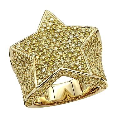 Mens Statement Jewelry: Yellow Diamonds Star Pinky Ring in 14k Gold 4 ctw by Luxurman