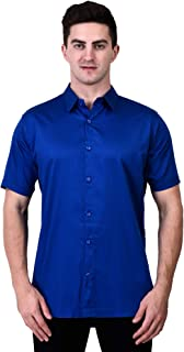 TIGER EXPORTS Men's Solid Cotton Formal Classic Collar Casual Half Sleeve Shirts