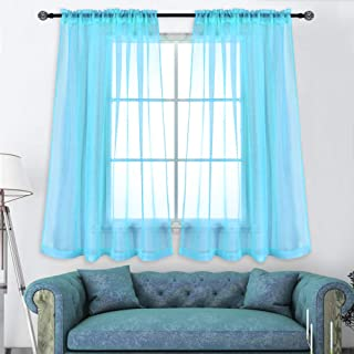 KEQIAOSUOCAI 2 Pieces Sky Blue Sheer Curtains Panels for Bedroom Rod Pocket Sheer Window Drapes for Living Room 52Wx63L