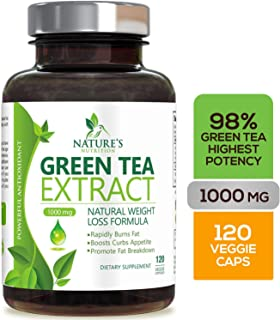 Green Tea Extract 98% Standardized EGCG for Weight Loss 1000mg - Boost Metabolism for Healthy Heart - Antioxidants & Polyphenols - Gentle Caffeine, Fat Burner Pills, Made in USA - 120 Capsules