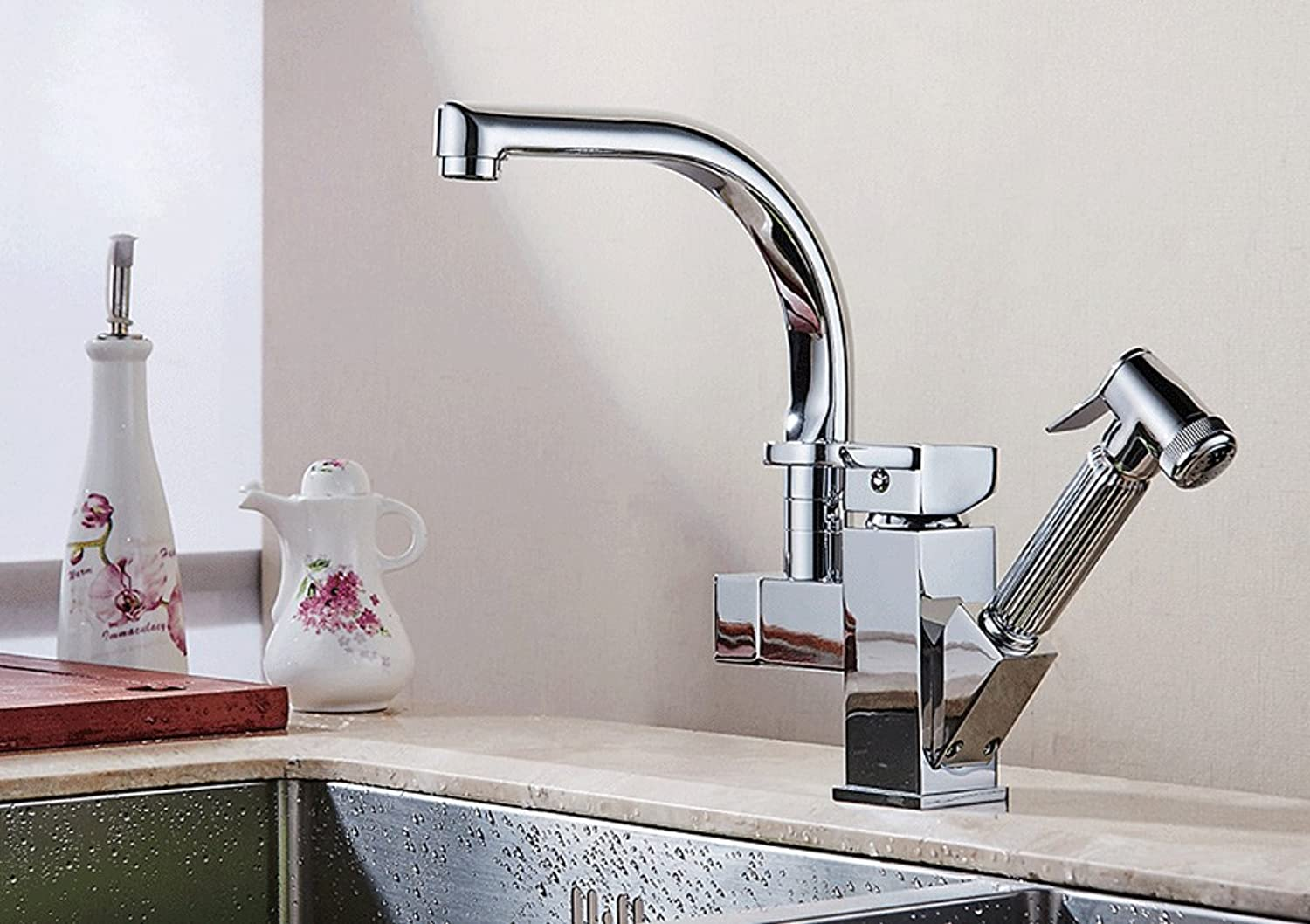 WTL Faucet Pull Type Faucet Hot And Cold Kitchen Vegetables Basin All Copper Stretch Shrink redatable Sink Faucet