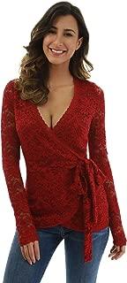 PattyBoutik Women Floral Lace Long Sleeve Wrap Blouse