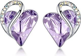 """Leafael""""Infinity Love"""" Heart Earrings Made with Swarovski Crystals Birthstone Jewelry Gifts for Women, Silver-tone"""