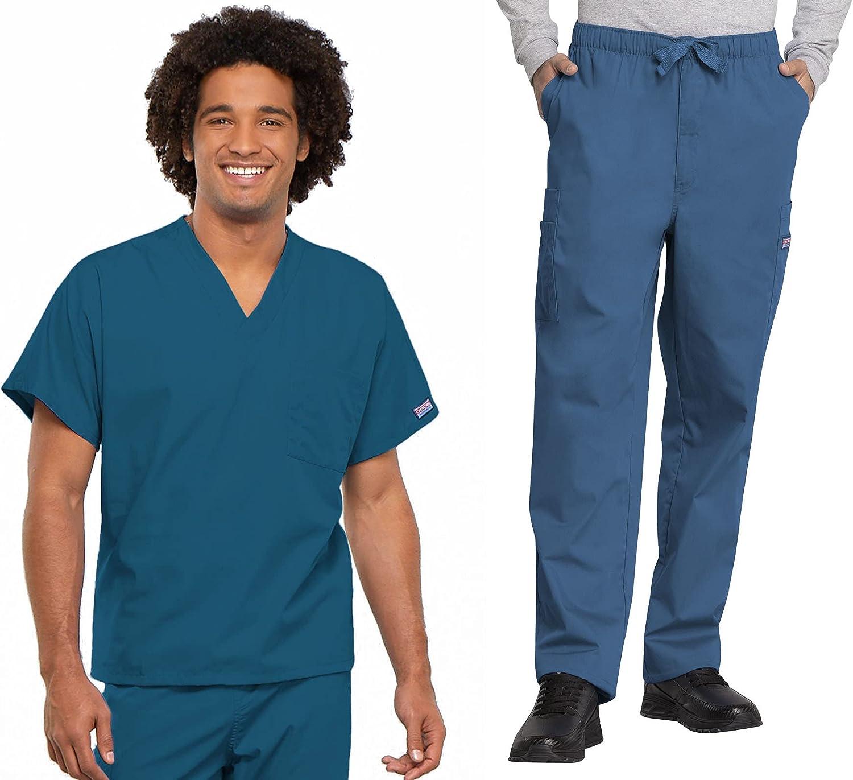 Workwear Originals Men Scrubs Set V-Neck Top 4777 & Drawstring Pant 4000T (Caribbean Blue, L/L Tall)