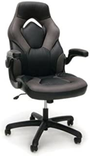 OFM Essentials Racecar-Style Leather Gaming Chair - Black and Gray