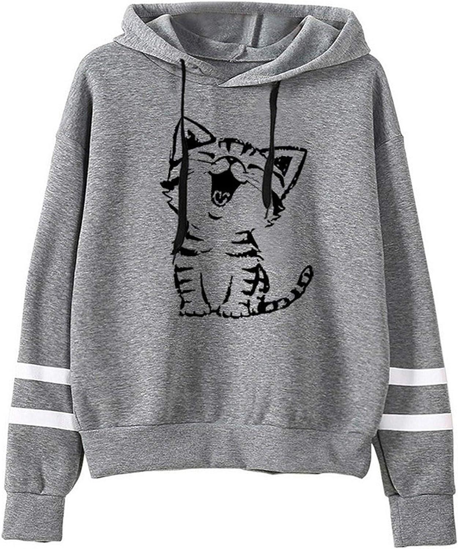 Sweatshirt Pullover Womens Long Sleeve Stripe Print Jumper Hoodi