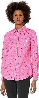Long Sleeve Dot Stretch Poplin Shirt