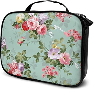 Women Shabby Chic Flowers Roses Pedals Dots Leaves Buds Spring Toiletry Bag Holder Multifunction Travel Makeup Train Case Lazy Zipper Tote Bag Large Capacity for Toiletry Digital Accessories Travel