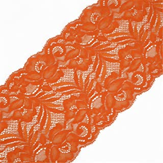 5 Yards Floral Lace Ribbon Stretch Tulle Lace Trim Elastic Webbing Fabric for DIY Jewelry Making Craft Clothes Accessories Gift Wrapping Wedding Party Decoration (Orange)