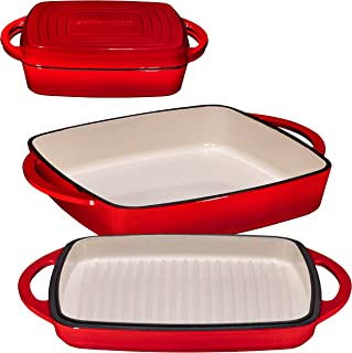 Bruntmor Enameled Square Cast Iron Large Baking Pan. Cookware Baking Dish With Griddle Lid 2-in-1 & Double Handle for Cass...