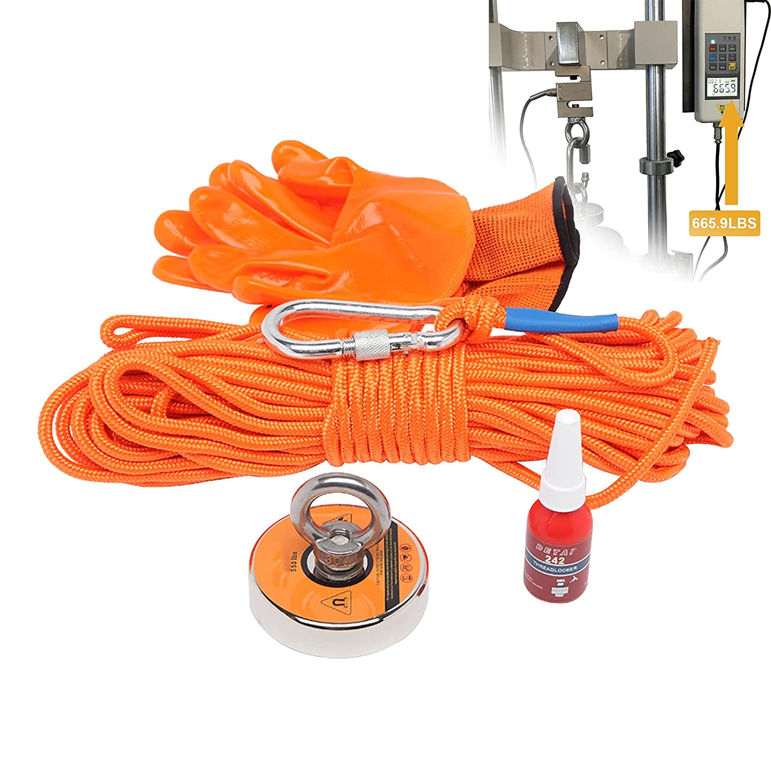 Magnetic Fishing Kit, 550 LBS Strong Salvage Magnet with Rope fo