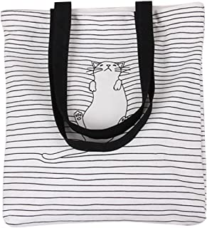 Nuni Women's Black Stripe Lazy Cat Canvas Tote Convertible Shoulder Bag White