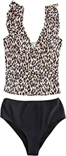 SOLY HUX Women's Leopard Print V Neck Ruffle Trim Bikini Bathing Suits 2 Piece Swimsuit