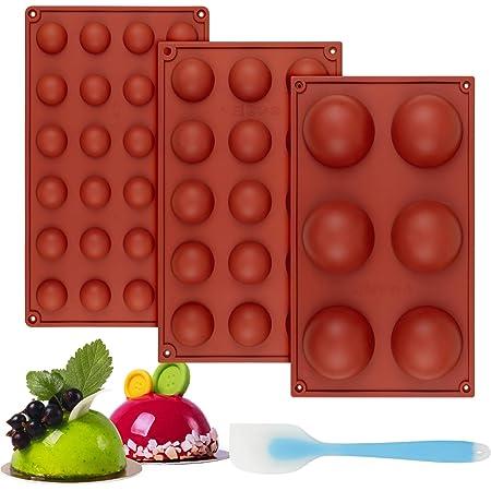 Zoyomax 3 moldes de silicona esférica, moldes de bomba de chocolate semiesférica, sin BPA, juego de moldes de cúpula para bombas de cacao, pasteles, gelatina, pudín, mousse de cúpula, jabón hecho a mano antiadherente