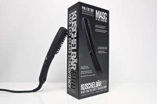 KUSCHELBÄR PRO Heated Beard Straightener Brush from MASC by Jeff Chastain - Arched Comb for More Styling Options, Extra-Long Fixed Cord, 3D Heated Plate Design, 3 Temperature Settings, Auto Turn-Off