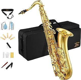 ساکسوفون Eastar Tenor Saxophone Tenor Saxophone Bb Tenor Sax B Flat Lacquer Gold Flat Saxophone با پارچه تمیز کننده ، کیف مخصوص حمل ، دهانه ، بند گردن ، روغن چوب پنبه ، نی ، بسته کامل ، TS-