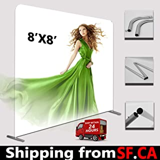 8'x8' Tension Fabric EZ Tube Straight Frame Booth Exhibit Show Display Backdrop Stand 3x3