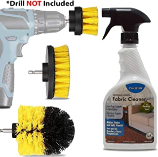 ForceField Fabric cleaner Kit: 22 Oz Professional Strength Force Field Carpet And Upholstery Cleaning Spray, Handheld Drill Brush Detailing Scrub Attachment Set, Works For Furniture, Clothes And More.