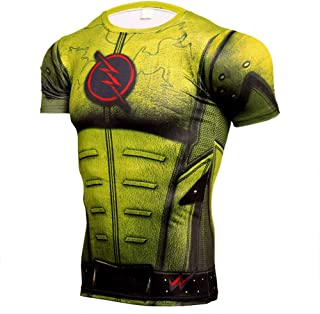 Dri-fit Short Sleeve Flash Compression Workouts T Shirt for Men Yellow