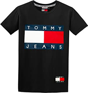 TH Tommy 100% Cotton Crew Neck Flag Logo Print T-Shirt