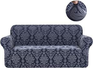 CHUN YI 1-Piece Stretch Jacquard Damask Elegant Collection Sofa Slipcover Easy Fitted Couch Cover Stretchable Durable Furniture Protector (Sofa, Grayish Blue)