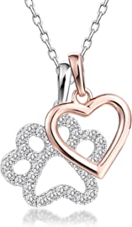 Sterling Silver Good Luck Dog Paw with Rose Gold Heart Charms Pendant Necklace, 18''
