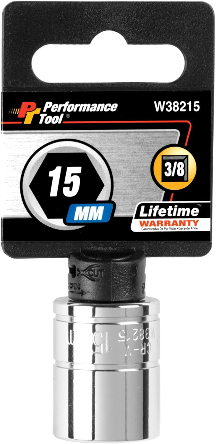 Performance Tool W38215 6-Point Socket Year-end gift List price Drive 3 15mm 8
