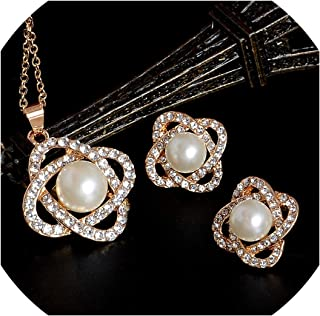Vintage Imitation Pearl Necklace Gold Jewelry Set Clear Crystal Party Gift Jewelry Sets