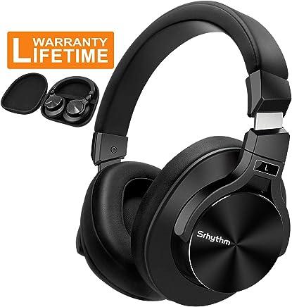 Srhythm NC75 Auriculares con cancelación de ruido activo, Bluetooth, con micrófono, estéreo de alta fidelidad, graves profundos, inalámbricos, para smartphones, PC/TV y negro