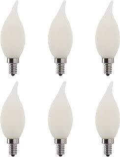 LED 6W Flame Tip Filament Frosted Chandelier Light Bulb, 60W Equivalent, 500 Lumens, 3000K Soft White, Dimmable, 120V, E12 Candelabra Base, Energy Star, (6 Pack)