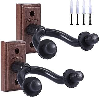 2 Packs Guitar Wall Mount Real Hardwood Black Walnut Hanger Holder for Acoustic Electric Guitar Bass Folk Ukulele Violin Mandolin Banjo Stand (2 Pack Black Walnut)
