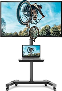 5Rcom Rolling TV Stand with Wheels for Most 27-55 Inch 4K Flat Curved Screen TVs up to 88lbs, Height Adjustable Mobile Car...