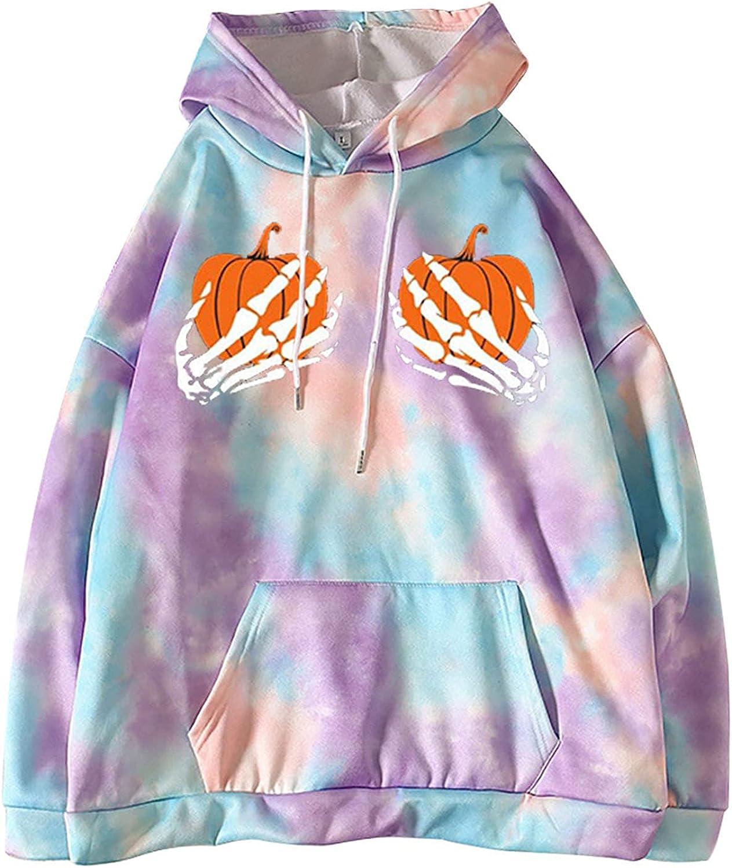 977 Fashion Women's Long Sleeve Sweatshirts Casual Tie Dye Halloween Print Tops Hoodies Loose Fit Pocket Pullover