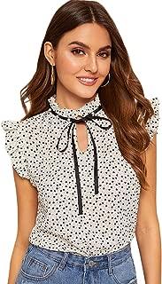 Women's Casual Ruffle Trim Cap Sleeve Bow Tie Blouse Top Shirts