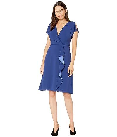 Adrianna Papell Gauzy Crepe A-Line Dress with Drape (Indigo) Women