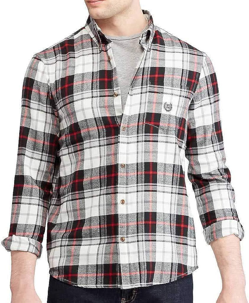 Chaps Men's Classic Fit Long Sleeve Performance Flannel Shirt Black