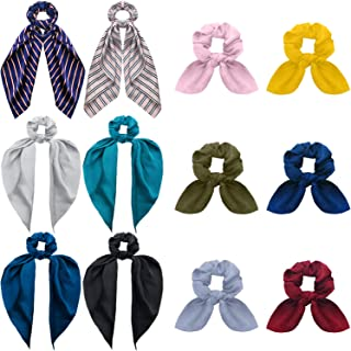 12 Pieces Satin Scarf Hair Scrunchies Soft Scarf Hair Ties Bowknot Ponytail Holder Ponytail Hair Bands Includes 6 Pieces Satin Bow Hair Scarf and 6 Pieces Bunny Ear Elastic Hair Bands for Women Girls