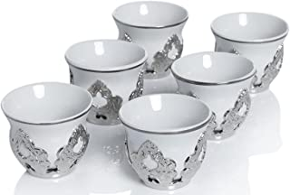 Set of 6 Arabic Turkish Greek Coffee Mirra Porcelain Cups with Holders Kava Gava (Silver)