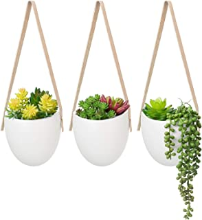 Mkono Wall Hanging Planter with Artificial Plants, Decorative Ceramic Potted Fake Succulents Picks Assorted Faux Succulent in Modern Hanging Plant Pot Vase for Home Decor, Set of 3
